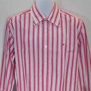 Tommy Hilfiger multi color striped men dress shirt